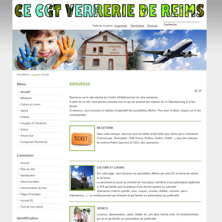Exemple de creation site Internet Reims : CE de la verrerie de Reims (O-I Manufacturing)