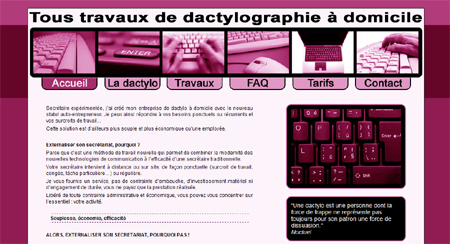 Exemple de creation site Internet Reims : ma dactylo on-line